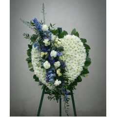 "A large 24"" full heart with a soft blue cluster. Love, love my love is blue....forever in your heart. This display stands over 6ft tall and 30"" wide."