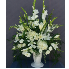THE CLASSIC ELEGANCE OF AN ALL WHITE FLORAL DISPLAY. WISHING YOU PEACE