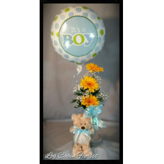This Cute Little Bear Arrives With A Vase Of Yellow Gerbera Daisies And September Flower, And 1 mylar Balloon.