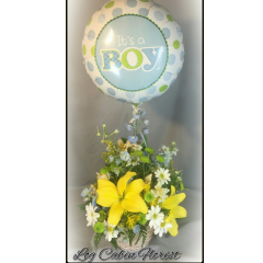 "Sweet Basket With Bright Yellow Lilies, Light Blue Delphinium And Pure White Daisies Topped With A ""IT'S A BOY MYLAR BALLOON""!"
