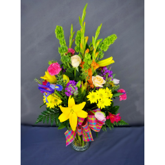 "This large showy arrangement screams you are a Super Star! Overall height on the large arrangement is approximately 36"" tall."