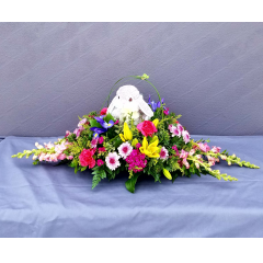 Long and low centerpiece with a touch of Easter whimsy!