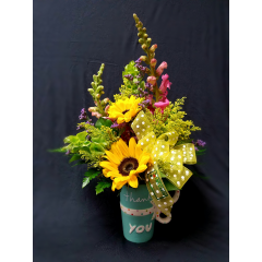SAY THANKS WITH A GIFT THAT THEY WILL USE EVERYDAY! A BRIGHT CERAMIC MUG FILLED TO THE BRIM WITH BEAUTIFUL FLOWERS!