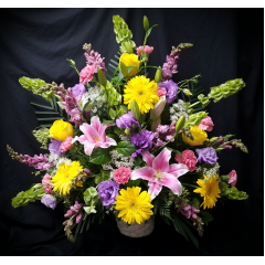 "CELEBRATE A LIFETIME OF FRIENDSHIP AND LOVE WITH THIS LOVELY BOUQUET. THIS IS A ONE SIDED ARRANGEMENT. IT IS APPROXIMATELY 36"" TALL AND 36"" WIDE."