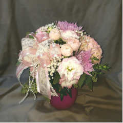 Soft and romantic, this Victorian inspired vase arrangement reflects back to a special time in our history. Love, romance and a soft feminine collection of Victorian garden flowers will capture the feelings of a different place in time.