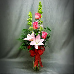 Nothing Says I Love You More Than This Elegant Display Of Stargazer Lilies And Roses. Call For Available Colors.