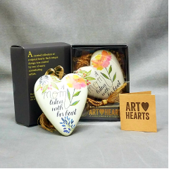 """Art Hearts, designed by American Artists and sold as limited editions, these beautiful hearts make a perfect """" something extra"""" to add with your flowers. Each heart has a personal sentiment and a brass key and lock on the back of the heart. Let Mom know she will always hold the key to your heart. This is one of our most popular gift items."""