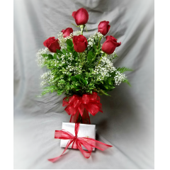 6 RED ROSES AND A 1/2LB BOX OF SEE'S TRUFFLES FOR MOM! A GREAT SURPRISE FOR A SPECIAL MOM!