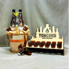 If your Dad loves to barbecue this collection of sauces, and 2 custom Torch shot glasses could be the perfect gift for Dad!  (Torch glass display on right of picture is for visual enhancement purposes and is not a part of the gift bucket that is for sale)