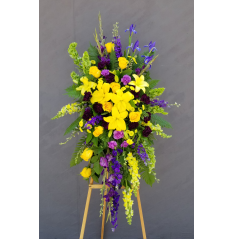 Yellow Lavender And Blue In A Classic Easel Spray.