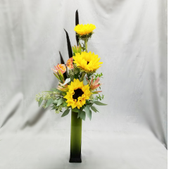 """What a great way to surprise someone special, just because! We only have a limited supply of this elegant tall vase so call today and make someone's day special!  Over all arrangement stands approximately 28"""" tall."""