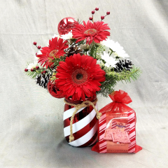 "Feel the spirit of the season! This is bouquet is the perfect holiday gift for that hard to buy for person. It is a festive candy stripe jar container filled will fresh christmas greens and red and white seasonal flowers PLUS it comes with a bag of peppermint bark candy and also includes a Better Homes and Gardens recipe to make your own peppermint bark candy! Call early this show stopper is going to sell out fast! Over all height is approximately 16"" tall."