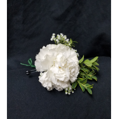 Carnation Boutonnieres are a time tested favorite. This long lasting flower comes in red, pink, lavender, white, yellow, peach, orange, purple and blue tones. designed with greenery and million star it is always  appropriate for any occasion.