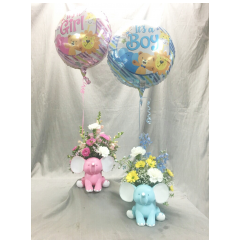 For the new arrival, this cute  keepsake elephant can be arranged with beautiful seasonal flowers that represent a boy or girl. accented with matching it's a boy/girl mylar balloon  **Elephant available in Blue & Pink*