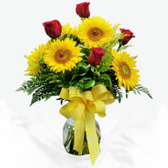 6 RED ROSES, 6 SUNFLOWERS AND 7 YELLOW SOLIDAGO