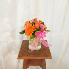 "Fun, vibrant and spontaneous! The Log Cabin grab-n-go bouquets will brighten the gloomiest day and put a smile on someone's face! Say ""Thank You!, say ""Love You!"" or ""Thinking of you"". This bouquet is a welcome surprise! ***COLORS MAY VARY***"