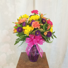 Summer Fresh Blooms Of Hot Pink Carnations, Purple Asters, Yellow Daisies And Alstromeria Make The Perfect Summer Bouquet!