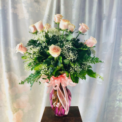 "Beautiful Dozen Pink roses in a pink vase approx 28"" high"