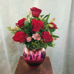 On Sunday August 25th is Kiss and Make Up Day!! We're celebrating with half dozen roses with alstromeria in a decorative ombre' heart vase.