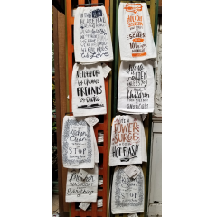 OUR VERY OWN PRIMITIVES BY KATHY COLLECTION OF TEA TOWELS!   WHAT A FUN HOSTESS GIFT OR A LITTLE SOMETHING TO BRIGHTEN SOMEONE'S DAY. THESE TEA TOWELS HAVE FUN SAYINGS FOR ALMOST ANY OCCASION. LET US HELP YOU PICK THE ONE THAT IS PERFECT FOR YOUR OCCASION.