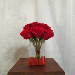 This Dozen Roses Is Arranged In A European Pave Design - Something Trendy And Different. Bouquet is approximately 10 inches tall in a compact design.