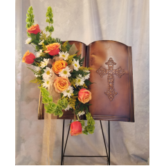 This is a beautiful metal Bible tribute peace on it's own metal stand with a cluster of Roses & Daisies to adorn the piece. A keepsake piece to have as a remembrance.     Approx. 3 1/2 ft tall