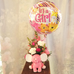 "For the new arrival, this cute  keepsake elephant can be arranged with beautiful seasonal flowers that represent a boy or girl. accented with matching it's a boy/girl mylar balloon **Flowers and Balloon style may vary depending upon availability** Approx. 15""H x 9""W  **Elephant available in Blue & Pink*"