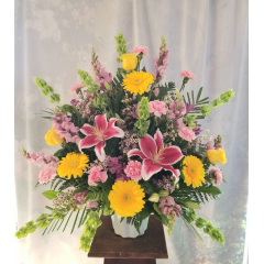 "Celebrate a lifetime of friendship and love with this lovely bouquet. This is a one sided arrangement. **Flowers may vary depending upon availability** Approx. 36""H x 36""W"