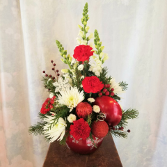 """Cute keepsake snowflake ornament container that can be used as a candy dish with white snaps, red carnations, spiders, white button poms, berries and ornaments. Approx 22""""H x 13"""" W. **flowers may be subject to change**"""