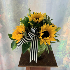 Cute bouquet of sunflowers perfect for a desk, small space or table in a glass vase. **Container may vary**