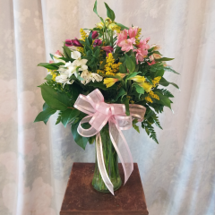 "A nice long lasting bouquet of Alstroemeria bouquet in mixed colors with filler and bow. Approx 23""H x 15""W **Container and color of flowers may vary depending upon availability**"