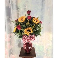 Six roses and Six sunflowers in a red vase with valentine's bow