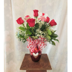 """Half dozen red roses in a mercury glass vase with valentine's bow and pick. Approx 20""""H x 15""""W"""