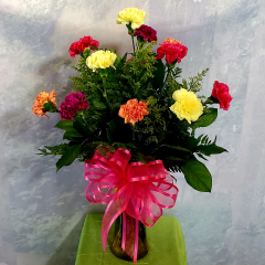 "A simple bouquet of a dozen carnations in mixed colors come with filler and a bow. Approx 25""H x 16""W **Color of container and flowers may vary**"