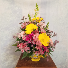This bouquet is great for any occasion or just to make someone's day...The Send a Big Smile Bouquet is filled with a bright summer mix of cheerful blossoms! Add a Happy Birthday or Get Well Mylar for an additional $4.95 **Balloon designs may vary**