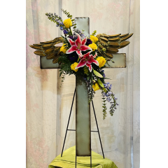 This lovely antique looking metal cross with angel wings would make a beautiful tribute and can be kept as remembrance piece.
