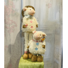 """This adorable plush sheep has extendable legs to either be short, tall or in between heights!! Add this to your Easter Decor collection!! Approx 28"""" H (legs fully extended)"""