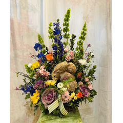 """Send that special some""""bunny"""" a spring floral basket with a keepsake raffia bunny. ***Flowers and basket may vary depending upon availability*** Approx 31""""H x 20""""W"""