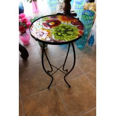 DiBella Flowers & Gifts Las Vegas - Glasstop Garden Deco Table- Mixed Flowers Approx 2 1/2 feet tall