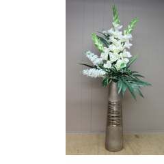DiBella Flowers & Gifts Las Vegas - White Silk in Gold Vase - Approximately 4 feet tall