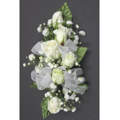 DiBella Flowers & Gifts Las Vegas - Spray Rose Corsage  * Choose color! Will come as White if no other color is selected ** Ribbon Colors, Accessories and Wristlet choices available in Categories Section *** If no additional Ribbon or Wristlet is chosen, Corsage will come as pictured with White Ribbon and as a Pin On - No Wristlet