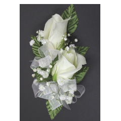 DiBella Flowers & Gifts Las Vegas - Double Rose Corsage * Choose color! Will come as White if no other color is selected ** Ribbon Colors, Accessories and Wristlet choices available in Categories Section *** If no additional Ribbon or Wristlet is chosen, Corsage will come as pictured with White Ribbon and as a Pin On - No Wristlet