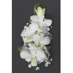 DiBella Flowers & Gifts Las Vegas - Dendrobium Orchid Corsage * Choose color! Will come as White if no other color is selected ** Ribbon Colors, Accessories and Wristlet choices available in Categories Section *** If no additional Ribbon or Wristlet is chosen, Corsage will come as pictured with White Ribbon and as a Pin On - No Wristlet