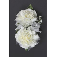 DiBella Flowers & Gifts Las Vegas - Double Carnation Corsage * Choose color! Will come as White if no other color is selected ** Ribbon Colors, Accessories and Wristlet choices available in Categories Section **8 If no additional Ribbon or Wristlet is chosen, Corsage will come as pictured with White Ribbon and as a Pin On - No Wristlet