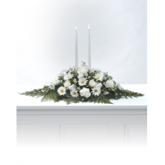 DiBella Flowers & Gifts Las Vegas - White Candles Arrangement CTT4-11 White Daisy Poms, Roses and Carnations.