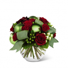 DiBella Flowers & Gifts Las Vegas - The FTD® Holiday Bliss™ Bouquet brings the joy and good tidings of the holiday season straight to their door. Bursting with bright seasonal color this bouquet boasts both red roses and spray roses whimsically accented with green hypericum berries, green glass holiday balls and green taffeta ribbon, artfully arranged in a clear glass bubble bowl vase to create a bouquet that exudes the bliss brought forth from this special time of year.