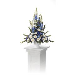 DiBella Flowers & Gifts Las Vegas - White and Blue Pedestal Arrangement CTT 8-11
