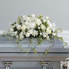 DiBella Flowers & Gifts Las Vegas - Graceful White Casket Spray CTT 9-11 **Seasonal Flowers- May have subs