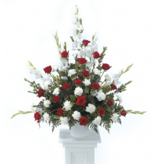 DiBella Flowers & Gifts Las Vegas - Red and White Tribute Pedestal Arrangement CTT 20-11