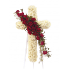 DiBella Flowers & Gifts Las Vegas - Red and White Cross Standing Spray CTT 21-11